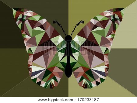 An illustration of a triangular colorful butterfly.