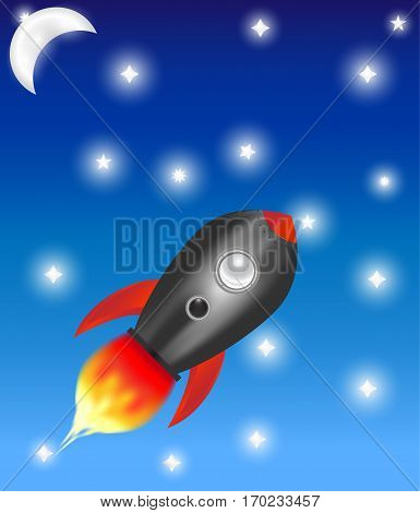 An illustration of a rocket in the starry sky.