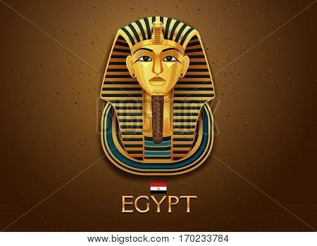 egypt pharaoh vecter illustration gold and sand texture