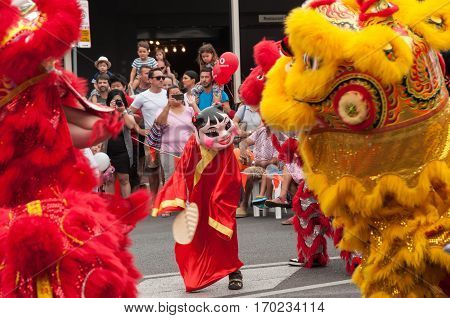 ADELAIDE, AU - FEB 4, 2017: Chinese Lion/Dragon dancers entertain Adelaide crowds during the Chinese New Year (Rooster) festival held in China Town.