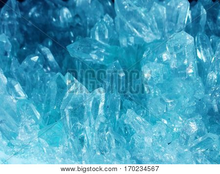 aquamarine semigem geode crystals geological mineral isolated