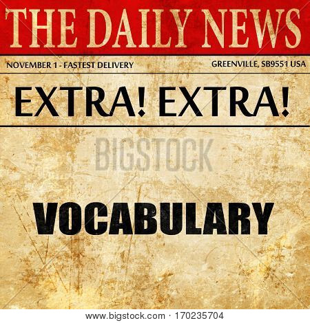 vocabulary, newspaper article text
