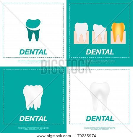 Set tooth icon. Good and bad teeth flat vector illustration EPS10