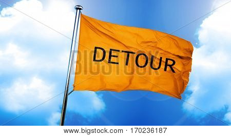 detour sign flag, 3D rendering