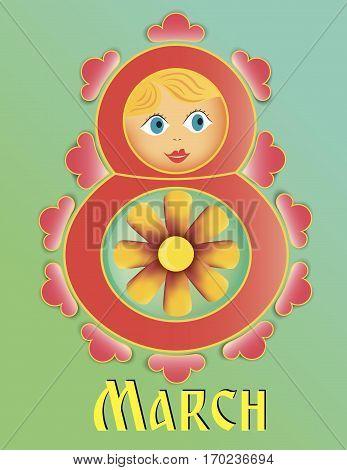 Matryoshka vector 8 march red Happy Women's day