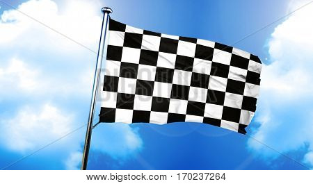 chequered racing flag flag, 3D rendering