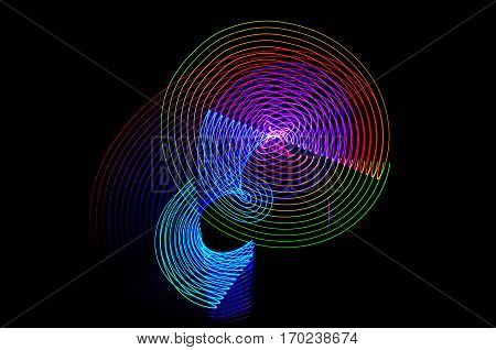 Light Painting. Abstract, Futuristic, Colorful Long Exposure, Black Background-36