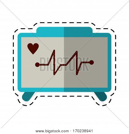 cartoon ecg heart machine medical device vector illustration eps 10