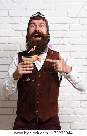 Happy Handsome Bearded Pilot