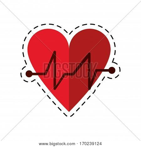 cartoon heart beat pulse cardiac medical icon vector illustration eps 10