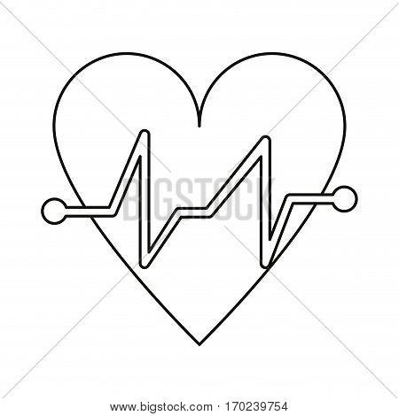 heart beat pulse cardiac medical thin line vector illustration eps 10