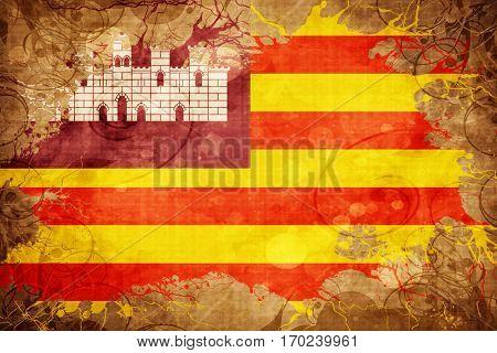 Vintage Balearic islands, iles baleares flag with grunge effect