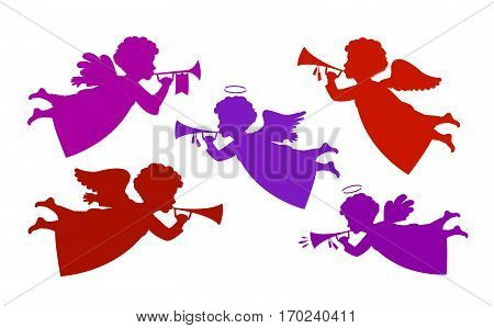 Flying angel playing trumpet. Silhouette heavenly messenger, cherub icon or symbol