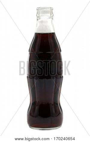 open cola bottle soft carbonated drink isolated on a white background