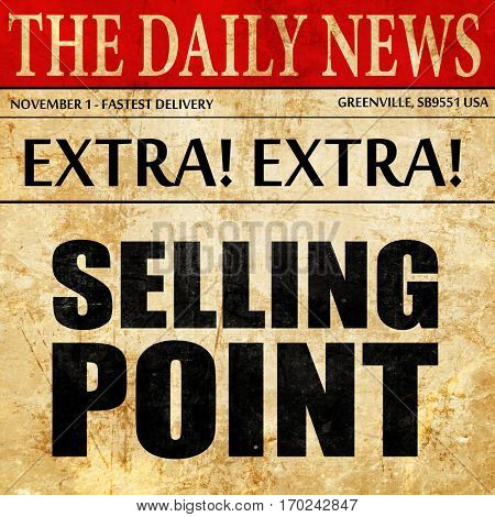 selling point, newspaper article text