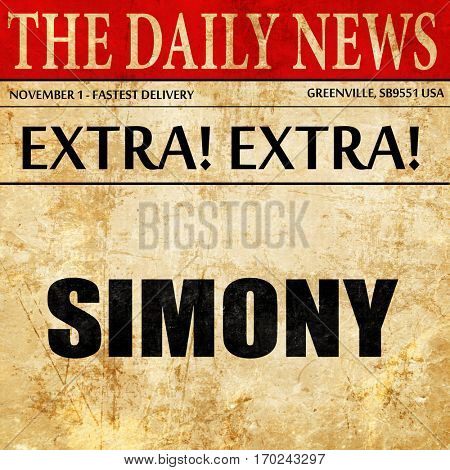 simony, newspaper article text