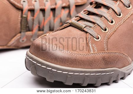 Men Brown Shoes Hiking Boot high quality and high resolution studio shoot