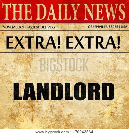landlord, newspaper article text
