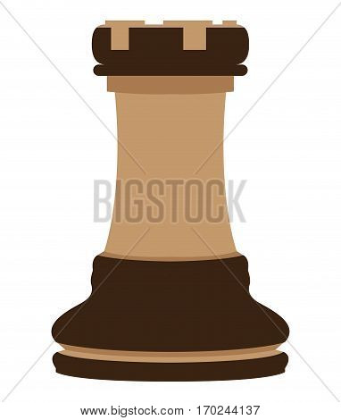Isolated rook piece on a white background, Vector illustration