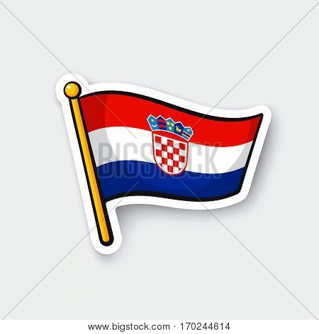 Vector illustration. Flag of Croatia on flagstaff. Location symbol for travelers. Cartoon sticker with contour. Decoration for greeting cards posters patches prints for clothes emblems