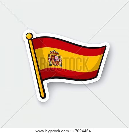 Vector illustration. Flag of Spain on flagstaff. Location symbol for travelers. Cartoon sticker with contour. Decoration for greeting cards posters patches prints for clothes emblems