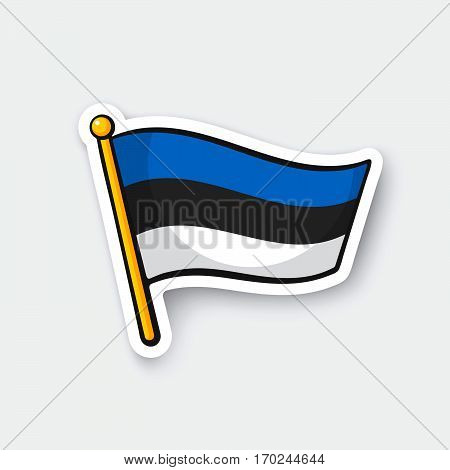 Vector illustration. Flag of Estonia on flagstaff. Location symbol for travelers. Cartoon sticker with contour. Decoration for greeting cards posters patches prints for clothes emblems