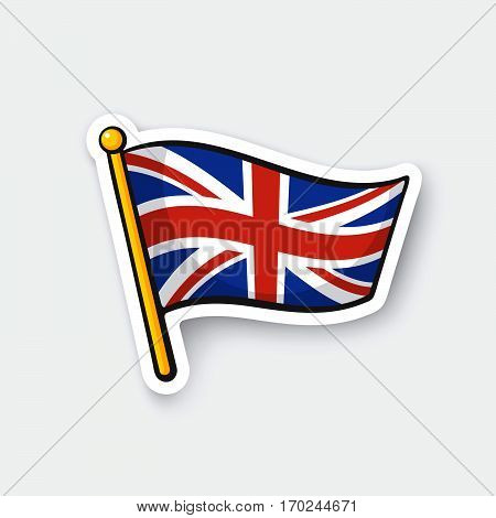 Vector illustration. Flag of the United Kingdom. Location symbol for travelers. Cartoon sticker with contour. Decoration for greeting cards posters patches prints for clothes emblems