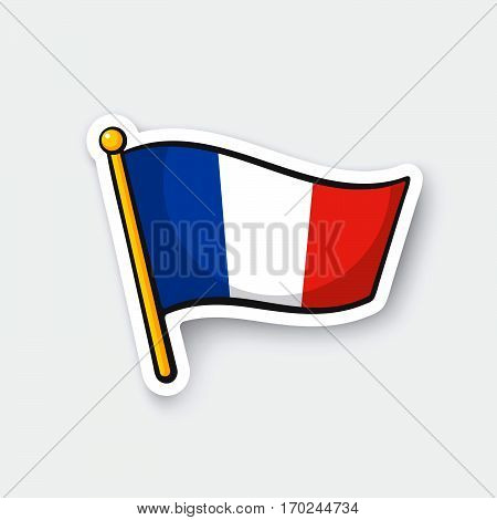 Vector illustration. Flag of France on flagstaff. Location symbol for travelers. Cartoon sticker with contour. Decoration for greeting cards posters patches prints for clothes emblems