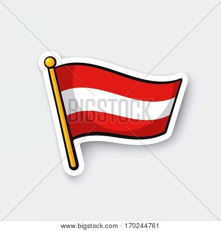 Vector illustration. Flag of Austria on flagstaff. Location symbol for travelers. Cartoon sticker with contour. Decoration for greeting cards posters patches prints for clothes emblems