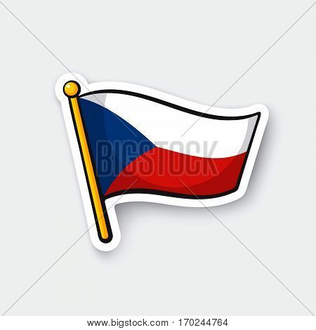 Vector illustration. Flag of the Czech Republic on flagstaff. Location symbol for travelers. Cartoon sticker with contour. Decoration for greeting cards posters patches prints for clothes emblems