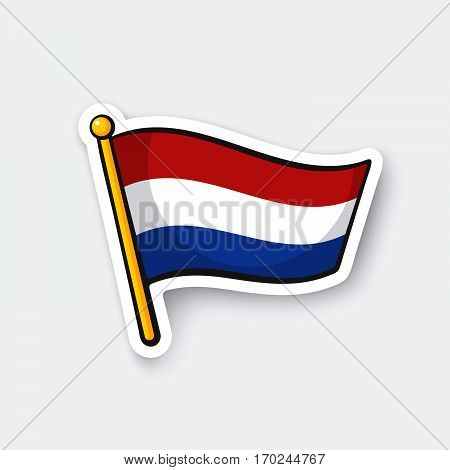 Vector illustration. Flag of the Netherlands on flagstaff. Location symbol for travelers. Cartoon sticker with contour. Decoration for greeting cards posters patches prints for clothes emblems