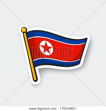 Vector illustration. Flag of North Korea on flagstaff. Checkpoint symbol for travelers. Cartoon sticker with contour. Decoration for greeting cards posters patches prints for clothes emblems