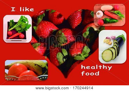Healthy food. Examples of a healthy and low calorie diet.