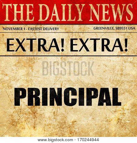 principal, newspaper article text