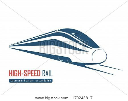 Modern high speed rail emblem icon label silhouette. Vector illustration.