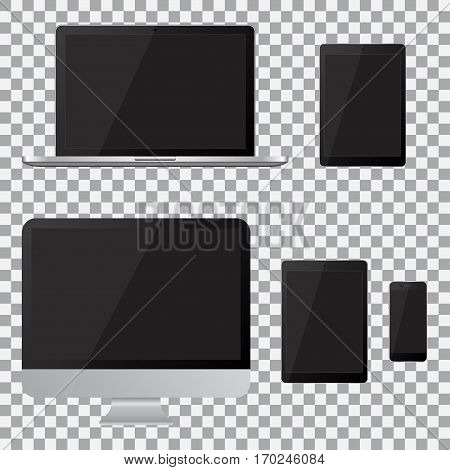 Set of realistic computer monitor laptop tablet and mobile phone with empty black screen. Various modern electronic gadget on isolate background