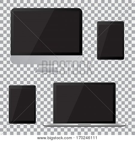 Set of realistic computer monitor laptop tablet with empty black screen. Various modern electronic gadget on isolate background