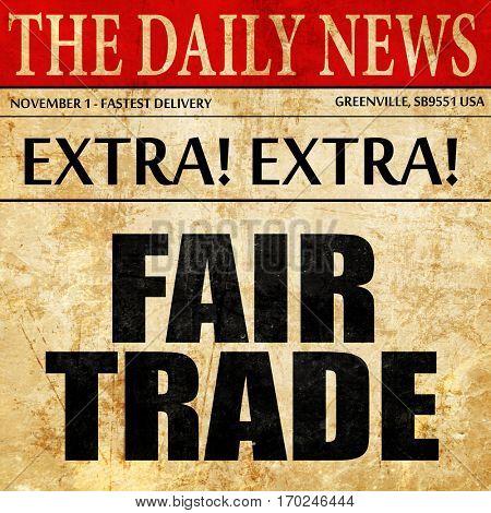 fair trade, newspaper article text