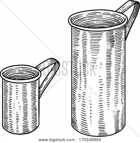 Measuring cup illustration, drawing, engraving, line art