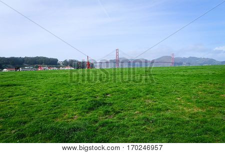 Golden Gate view on the bridge from Crissy Field