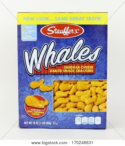 Spencer Wisconsin February 10 2017 Box of Stauffer's Whales Snack Crackers Stauffer's is an American company founded in 1871