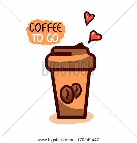 Cute cup of coffee to go with hearts, idea concept, vector illustration.