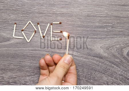 The Inscription Of Matches: Love.