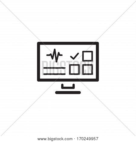 Online Survey Results and Medical Services Icon. Flat Design. Isolated Monitor with checkboxes and cardiogram.