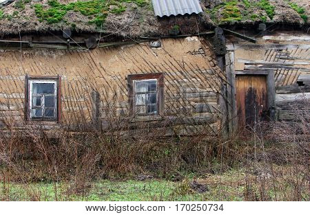 Abandoned old earthen house in a  village