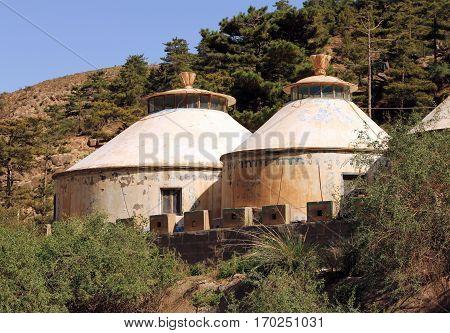 Modern mongolian yurt in Helan mountains Ningxia province China