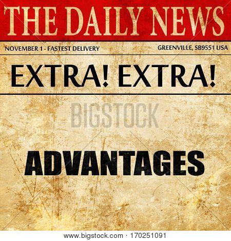 advantages, newspaper article text