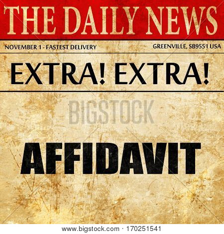 affidavit, newspaper article text