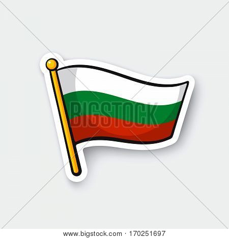 Vector illustration. Flag of Bulgaria on flagstaff. Location symbol for travelers. Cartoon sticker with contour. Decoration for greeting cards posters patches prints for clothes emblems