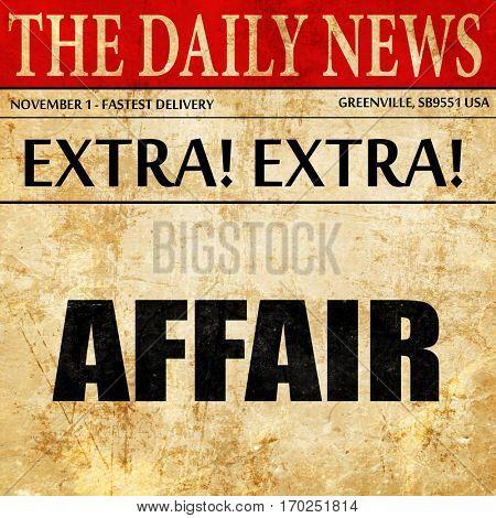 affair, newspaper article text